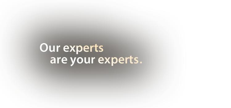 Our experts are your experts.